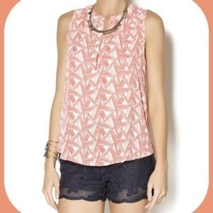 Anthropologie Lumiere TRIANGLE TOP coral L blouse